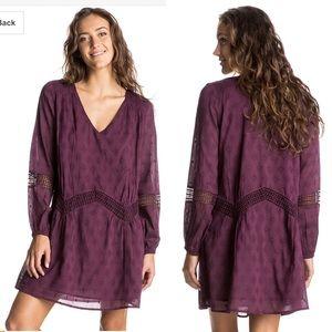 Roxy Cali Stars Burgundy Long Sleeve Dress Women L